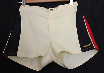 VINTAGE 1980's SURFIN' STUBBIES ~ Boys Lemon Yellow Black Red Shorts NWT 10