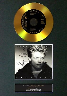 GOLD DISC BRYAN ADAMS Reckless Signed Autograph Mounted Print A4 123