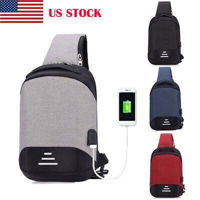 US Waterproof Men Anti-theft Backpack Laptop Travel Bag With USB Charging Port