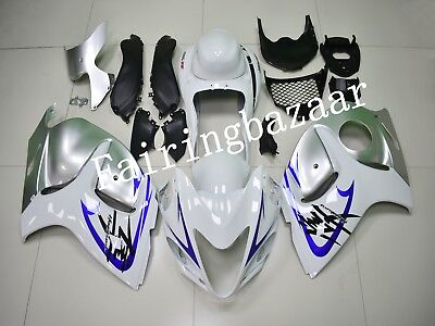FIT FOR HAYABUSA Gen 2 GSXR1300 2008-2015 White Silver ABS Injection  Fairing Kit