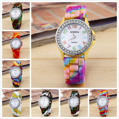 Women Shiny Crystal Round Case Girl Nice Rainbow Color Silicon Band Wrist Watch