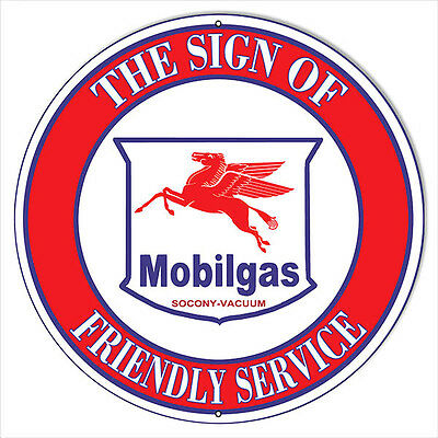 Large Mobil-gas Oil The Sign of Friendly Service Gas Station Sign