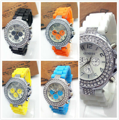Ladies Womens Gril Versicolor Geneva Silicone Crystal Quartz Jelly Wrist Watch