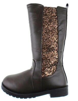 BRIANNA 60N GIRLS BROWN KNEE HIGH BOOTS WITH GLITTER PANEL AND INSIDE ZIP FASTEN