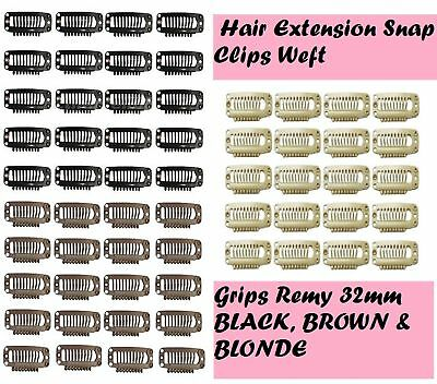 Hair Extension Snap Clips Weft Grips Medium Remy black brown * UK *