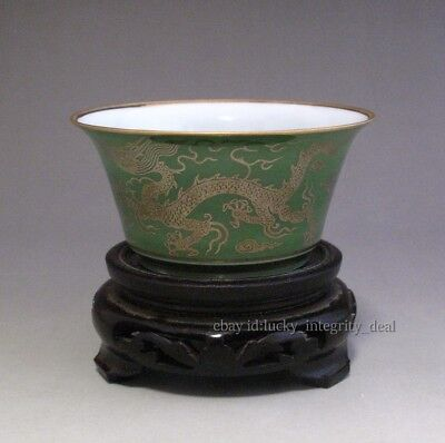 Fine Chinese Green Glaze Porcelain Gild Two Dragon Teacup cup