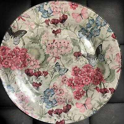Handmade Custom Glass Plate With Floral Design