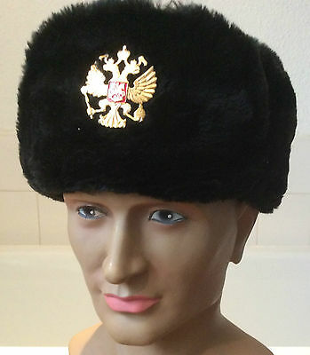 Russian Army Issue Imperial Eagle badge black faux fur warm hat -59 cm -Med/L