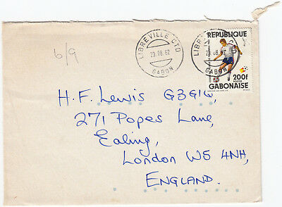 U1102 Gabon cover to UK, 1982; solo 200F football stamp; Libreville CTD CDS