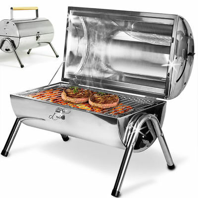 Portable Camping Stainless Steel Barrel BBQ Charcoal Barbecue Outdoor Table Top