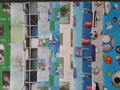 10 Sheets Of Good Quality General Male Assorted Birthday Wrapping Paper