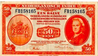 Dutch Netherlands East Indies 50 Cent Paper Money Certificate 1943 Vintage