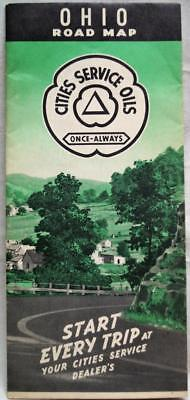 CITIES SERVICE STATE OF OHIO HIGHWAY ROAD MAP 1940s VINTAGE AUTOMOBILE TRAVEL