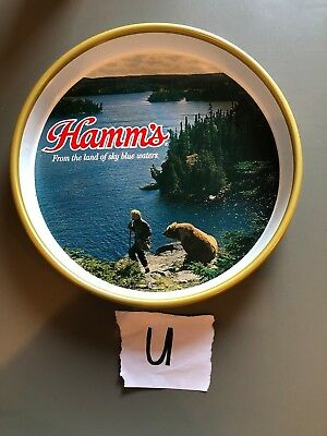 """1970s St Paul Hamm's Beer Serving Tray Man and Bear 13"""""""