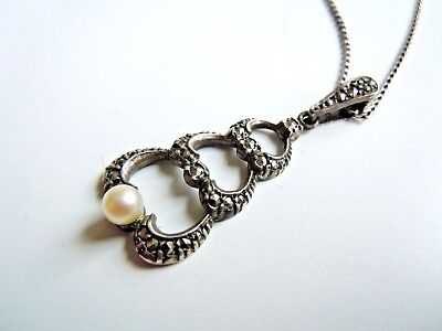 imperial Russia 84 Silver Pendant with natural Pearl  FABERGE design