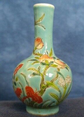 18th Ca. Chinese Export Porcelain Enamel Miniature Vase Ching Dynasty