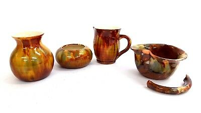 4 x Pieces of Brown/Green Toned EWENNY Pottery (One Piece Broken) - P125