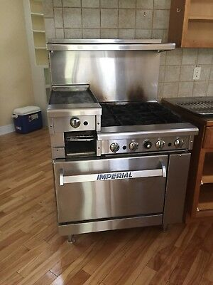 commercial, gas Imperial stove, Stainless steel, 4 burner + griddle.