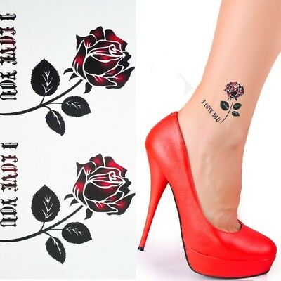 Einmal Tattoo Rose Rot Aufkleber Temporäre Tattoos Temporary Tattoo 296