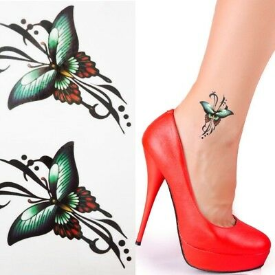 Einmal Tattoo Schmetterling Temporary Tattoo Aufkleber Temporäre Tattoos Grün