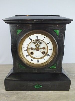 Victorian Slate and Malachite Inlay Clock with Marti French Works to Restore