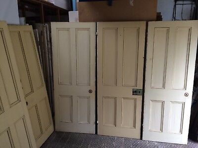Matching Set Of 8 Reclaimed Victorian 4 Panelled Pine Doors