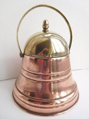 antique copper & brass tea caddie or ice bucket Bell shape & inner liner arts &