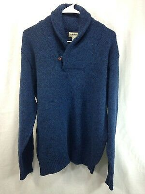 VTG LL Bean Sweater Mens Large Blue Knit Wool Blend Shawl Collar Henely USA