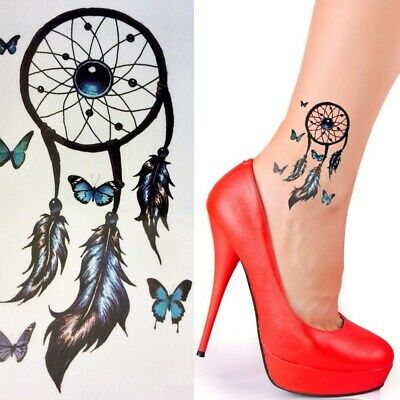 Einmaltattoo Traumfänger Temporary Tattoo Aufkleber Temporäre Tattoos Feder X79