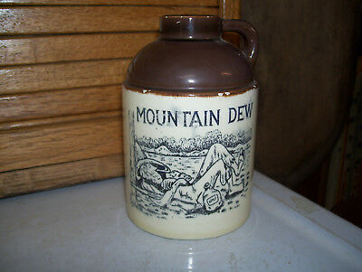 Mountain Dew Miniature Stoneware Jug With Hillbilly With Gun,jug-Very Nice!!!
