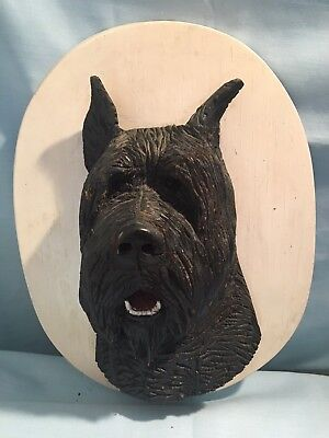 Bouvier Des Flanders Hand Carved Wood Head - original 1940's