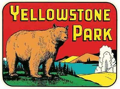 Yellowstone National Park    Vintage Style 1950's  Travel Decal Bumper Sticker