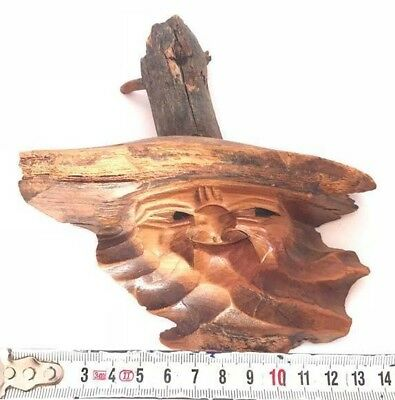 Wood Carved vintage art rare statue Face in the form of a beautiful Old Wooden
