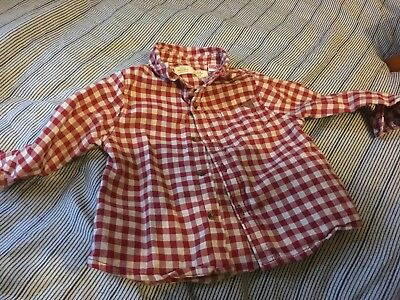 Zara Baby Boy Collection Red & White Checkers Shirt - 6-9 Months