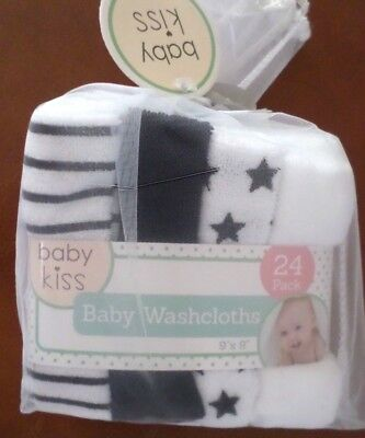Baby Kiss Baby Washcloths 24 pack Yellows /& White Solid 9x9 Poly Unisex