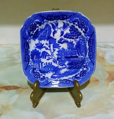 Vintage Blue Willow Small Square Plate Made In Japan