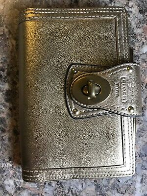 Coach Gold Turnlock Leather Planner #60303