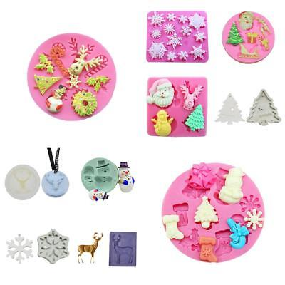 Christmas 3D Snowman Santa Claus DIY Fondant Cake Decorating Mold Silicone Mould