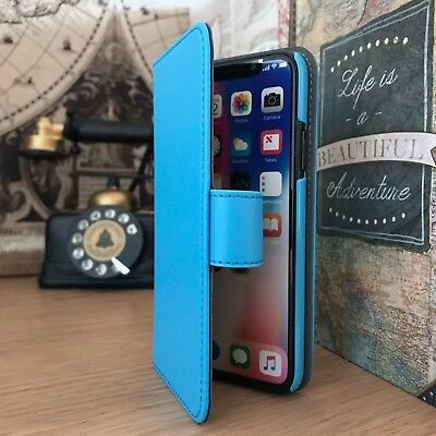 Protective Shocksock Leather Wallet Apple iPhone XS  Hand Stitched Case Blue
