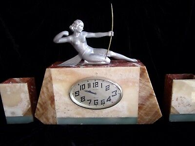 1930 LARGE STATUE SCULPTURE CLOCK~ART DECO DIANA THE HUNTRESS~marked 1102-A