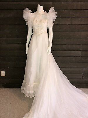 Vintage 1980 Off White Ruffle Organza High Neck Bridal Dress Women's S