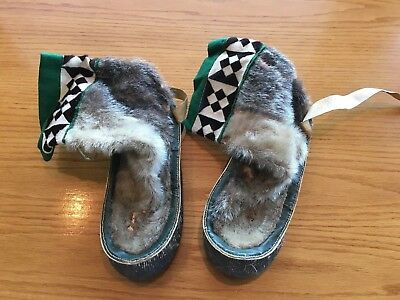 1960's HANDMADE INUIT NATIVE ESKIMO OLD FUR LEATHER MUKLUKS BOOTS RARE