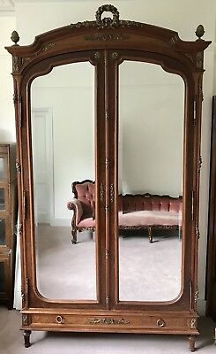 Antique French Ormolu Wooden Armoire Wardrobe