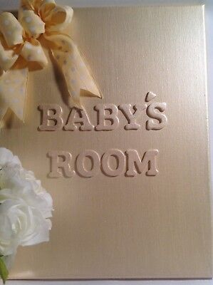 Baby's Room Champagne Yellow 3-D Pearlized Nursery Wall Decor W/ Bow New!