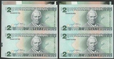 L15 LITHUANIA 2 litas 1993, P54, consecutive uncut sheets of two!, UNC