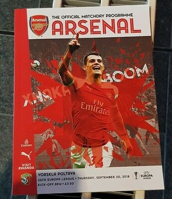 Arsenal v Vorskla Poltaya. Uefa Europa League Official Matchday Programme