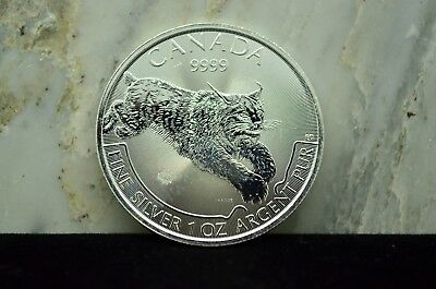 "2017 Canada $5 Predator Series ""Lynx"" One Oz 9999 Fine Silver Commemorative Coin"