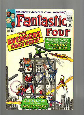 Fantastic Four #26 May 1964 Fn Unstamped Cents 2Nd Think Hulk Battle