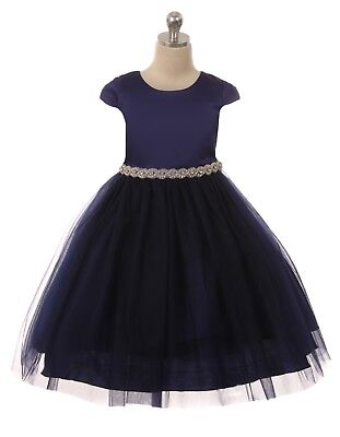 Navy Blue Satin Flower Girls Dress Christmas Pageant Wedding Easter Party 452