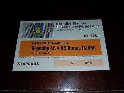 BRONDBY IF   v roma   OFFICIAL USED MATCH TICKET CALCIO COPPA UEFA 1991